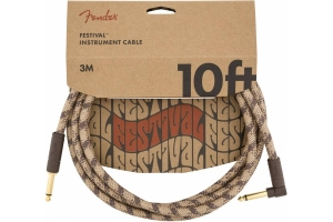 Инструментальный Кабель FENDER 10' ANGLED FESTIVAL INSTRUMENT CABLE PURE HEMP BROWN STRIPE купить