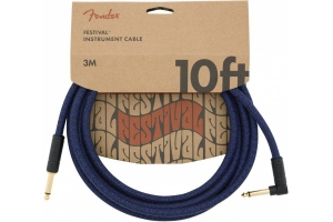 Инструментальный Кабель FENDER 10' ANGLED FESTIVAL INSTRUMENT CABLE PURE HEMP BLUE DREAM купить