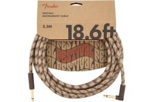 Инструментальный Кабель FENDER 18.6' ANGLED FESTIVAL INSTRUMENT CABLE PURE HEMP BROWN STRIPE купить