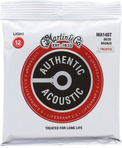 Струны Для Гитары MARTIN MA140T Authentic Acoustic Lifespan 2.0 80/20 Bronze Light (12-54) купить