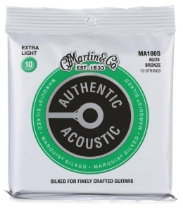 Струны Для Гитары MARTIN MA180S Authentic Acoustic Marquis Silked 80/20 Bronze Extra Light (10-47) купить