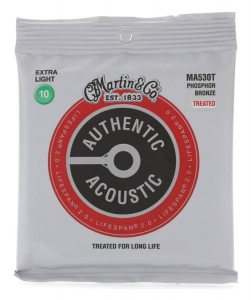 Струны Для Гитары MARTIN MA530T Authentic Acoustic Lifespan 2.0 92/8 Phosphor Bronze Extra Light (10-47) купить