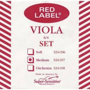 Струны Для Скрипки SUPER-SENSITIVE SS4107 RED LABEL VIOLA SET STANDART 15-16 1/2 (MEDIUM) купить
