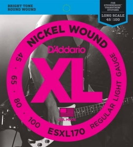 Струны Для Бас Гитары D'ADDARIO ESXL170 XL NICKEL WOUND BASS REGULAR LIGHT DOUBLE BALL END (45-100) купить