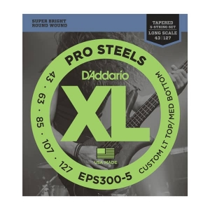 Струны Для Бас Гитары D'ADDARIO EPS300-5 XL PROSTEELS BASS Custom Light Top/Med Bottom (43-127) купить