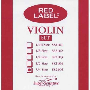 Струны Для Скрипки SUPER-SENSITIVE SS2105 RED LABEL VIOLIN SET 3/4 купить